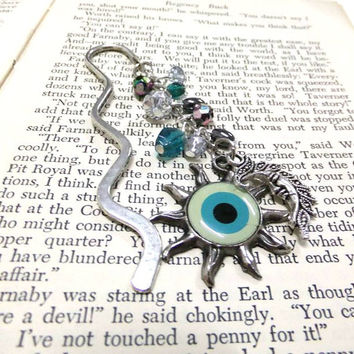 Moon and Sun Bookmark, Cabochon Eye Sun and Moon Bookmark, Blue Bookmark, Beaded Bookmark, Celestial Bookmark, Boho Bookmark, Nazar Bookmark