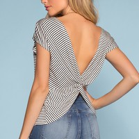 Tyler Twist-Back Black and White Stripe Top