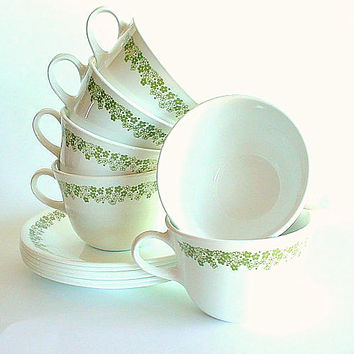 Corelle Coffee Cups and Saucers, Vintage Livingware 1970s Spring Blossom Green, Crazy Daisy 12 Pieces
