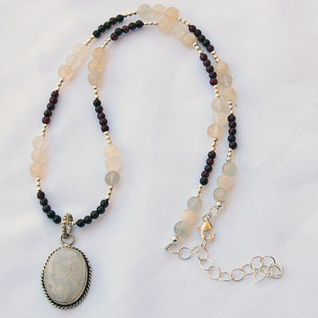 Moonstone Garnet Pendant Handmade Designer Gemstone Necklace