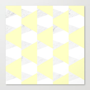 Yellow White Marble Triangles Canvas Print by ARTbyJWP
