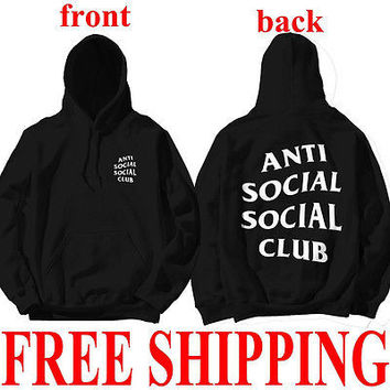 Unisex Anti Social Social Club Hooded Long Sleeve Hoodied Swaetshirt Kanye Sweatshirts AntiSocial Social Club Plus Size 3XL