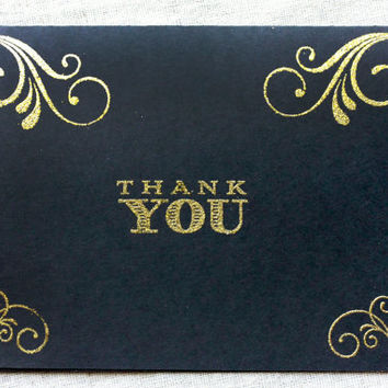 Black and Gold Wedding Thank You Cards, Glitter Gold Wedding, old hollywood Wedding Stationary, Thank You Card Set, Thank You Notes set of 5