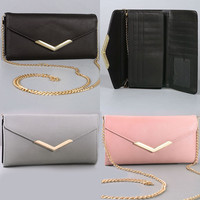 New Women Long Trifold Flap Wallet Clutch PU Leather Gold Metal Strap Cross Body
