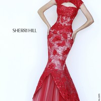 Sherri Hill 11232 Fit and Flare Lace Prom Dress