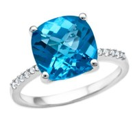Sterling Silver Cushion-Cut Blue Topaz and Lab-Created White Sapphire Ladies' Fashion Ring