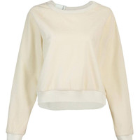 Beige Fluffy Cropped Sweatshirt