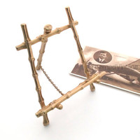 Easel faux bamboo vintage gold metal picture art stand tripod mount