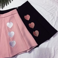 Japanese Harajuku Heart Embroidery Pleated Mini Skirt