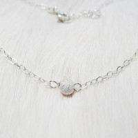 Sparkling Dainty Sterling Silver Stardust Bead Necklace, Simple Sterling Silver Stardust Necklace, Tiny Stardust Necklace, Petite Necklace