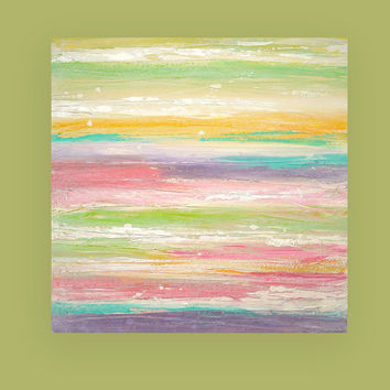 "Abstract Art Painting Acrylics on Canvas Titled: Springtime 24x24x1.5"" by Ora Birenbaum"