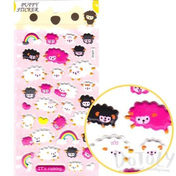 Counting Sheep Shaped Animal Themed Stickers in White Pink and Black