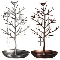 HQdeal New Antique Bronze Birds Tree Jewelry Stand Display Earring Necklace Holder Jewellery Stand Rack Storage