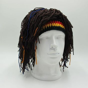 e59fcb6b1d1 New Rasta Wig Beanie Men s Caps Handmade Crochet Winter Warm Hat Halloween  Xmas Birthday Gifts Funny