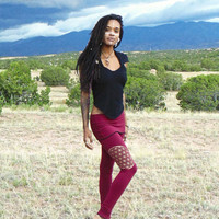 Lyra Leggings: Yoga pants with skirt. Sacred Geometry Flower of Life Screen Print. Organic cotton soy terry. Black, Grey, Purple, Red, Brown