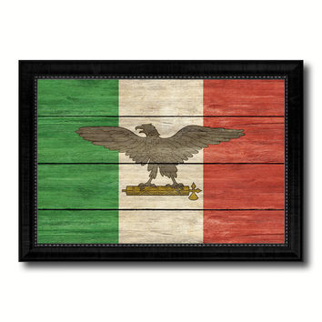 Italy War Eagle Italian Military Military Flag Texture Canvas Print with Black Picture Frame Gift Ideas Home Decor Wall Art