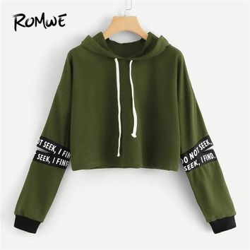 ROMWE Army Green Letter Tape Cut Out Sleeve Crop Hoodie Sweatshirt Women Casual Autumn Long Sleeve Clothing Drawstring Pullovers