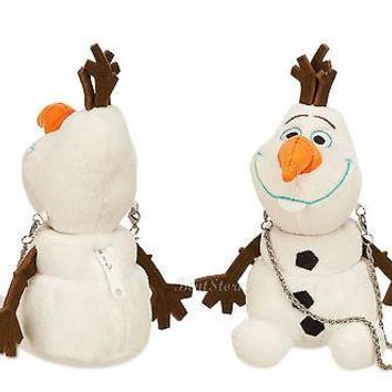 "Licensed cool NEW Disney Store FROZEN 8"" OLAF SNOWMAN Girls White PLUSH Coin Purse Hand Bag"