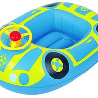"27"" Blue and Yellow Inflatable Children's Car Swimming Pool Baby Boat Float"