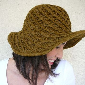 Wool Playful Hat  Olive Green by afra on Etsy