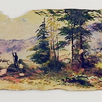 Antique Distressed Wilderness Watercolor Painting