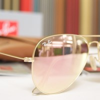 Cheap Ray Ban Sunglasses Aviator RB3025 Pink Lenses 58mm Mirrored Gold Frame