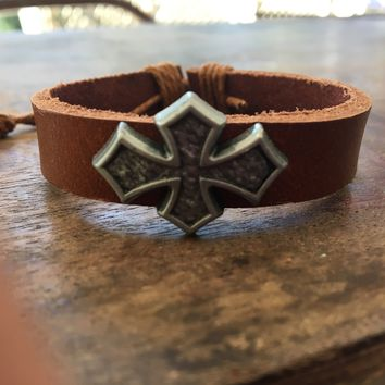 The Emery Caramel Brown and Hemp Leather Cross Bracelet