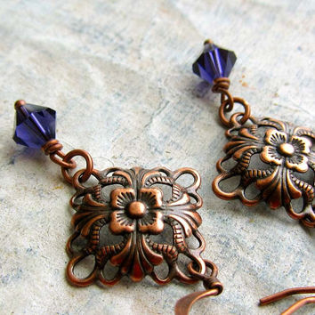 Art Nouveau small purple earrings