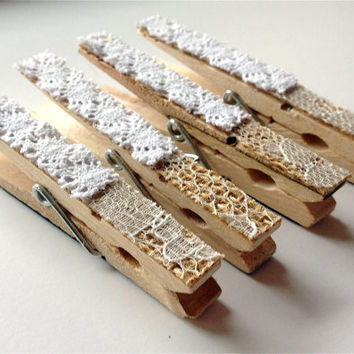 Lace and Burlap Magnets, Brown and White Clothespin Magnets, Decorated Clothespins