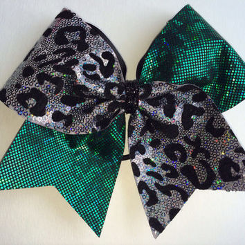 Cheer Bow - Green with Leopard Sequin