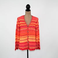 Plus Size Cardigan Women Sweater Orange Stripe Knit Cardigan 1X Fall Sweater Coldwater Creek Plus Size Clothing Womens Clothing