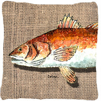 Red Fish Decorative   Canvas Fabric Pillow