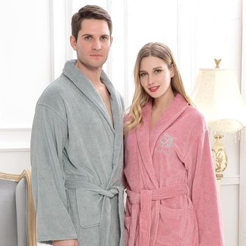 Cotton men bathrobe pijamas XXL plus size long thick winter towel fleece nightgown bridesmaid kimono robe white lovers soft