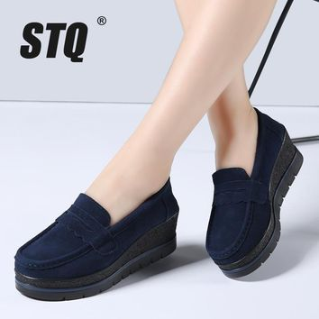 STQ 2017 Autumn women flats shoes thick sole flat platform sneakers leather suede casu