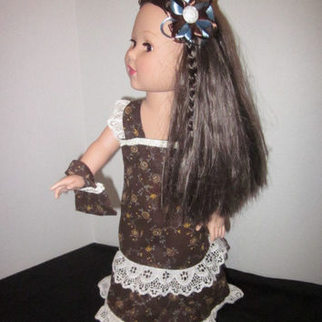 "American Girl 18"" Doll Dress With Coordinating Hairbow and Purse Handmade by Sweetpeas Bows & More"