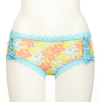 Tropical Print Boyshort Panties with Lace Trim and Corset Details
