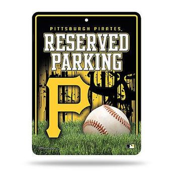 "Licensed Pittsburgh Pirates MLB 8.5"" x 11"" Metal Parking Sign Pitt Rico Industries KO_19_1"