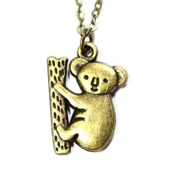 Climbing Koala Bear Necklace Vintage Gold Tone Pendant Australia NO07 Fashion Jewelry