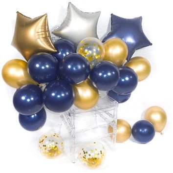 Birthday Balloon 46 pcs Latex & Foil/Mylar Balloon & Confetti Balloon & Chrome Balloon Decoration for Navy Gold Wedding Little Prince Birthday Nautical Navy Party - Navy Blue & Gold & Sliver