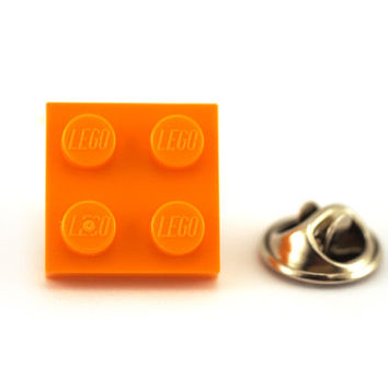 Orange Tie Pin made with LEGO® bricks, Tie Tack Pin, Men's Tie Tacks, Tie Tac, Silver Tie Clip, Tie Clips Men, Wedding Clip, Tie Tack