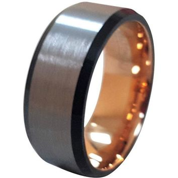 Extra Wide Tungsten Ring For Men W/ Black Beveled Edges & Rose Gold Inside Inlay 10mm