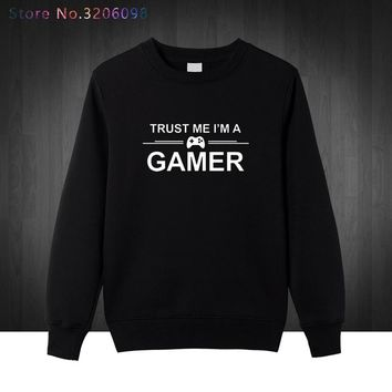 Trust me I'm a gamer funny printed mens Sweatshirts PS4 XBOX computer geek Hoodies homme Cotton men Pullover Free shipping