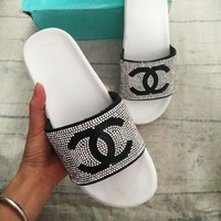 Chanel Women Diamond Shining Sequin Double C Fashion Slippers Sandals B104500-1 White