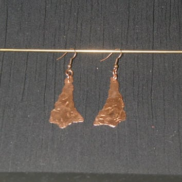 Hand-hammered copper earrings: