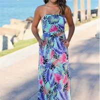 Green Floral Bandeau Pockets Fashion Maxi Dress