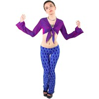 Wrap Star Purple Bell Sleeve Top