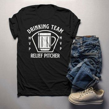 Men's Funny Beer T Shirt Relief Pitcher Shirt Drinking Shirts St Patricks Day Graphic Tee Drinking Team