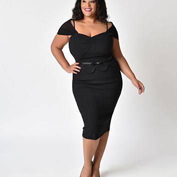 Janie Bryant For Unique Vintage Plus Size Black Peplum St. Regis Wiggle Dress
