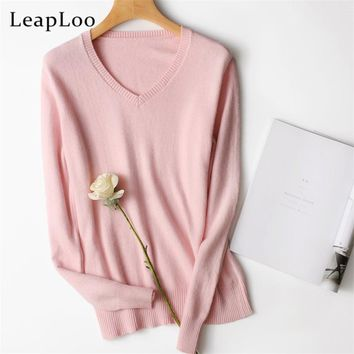 LeapLoo 2017 High Women Cashmere Sweater Autumn Sweater Female Casual Solid V-Neck Long Sleeve Knitted Pullovers