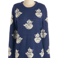 ModCloth Critters Mid-length Long Sleeve Cat's What I'm Talking About Sweater